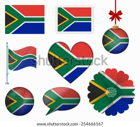 South Africa flag set of 8 items vector - stock vector