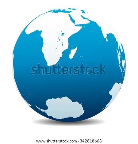 South Africa, Madagascar, and the South Pole - stock vector