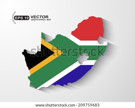 South Africa map with shadow effect - stock vector