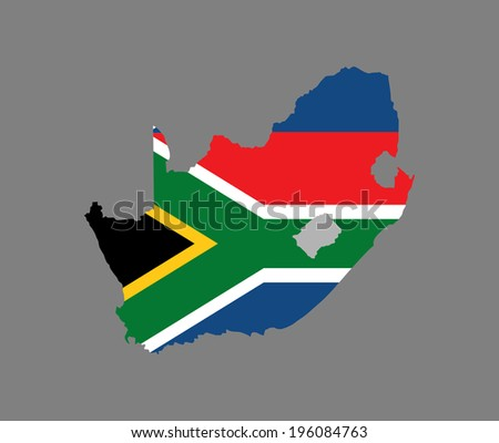 South Africa vector map filled with flag isolated on gray background. High detailed silhouette illustration. - stock vector
