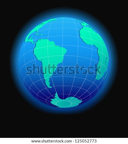 South America and Africa Global World in Space - stock vector