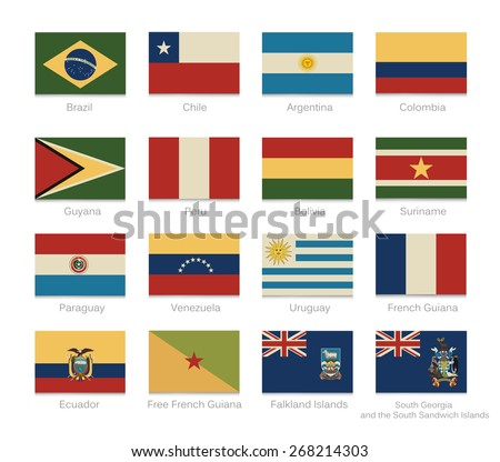 South America detailed flags of all continent countries and overseas with a vintage colors. Vector illustration flags set. - stock vector