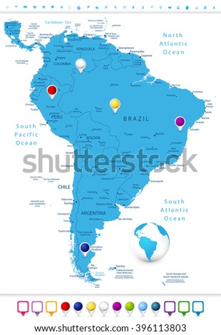 South America Detailed Map with Map Pointers.All elements are separated in editable layers clearly labeled. - stock vector