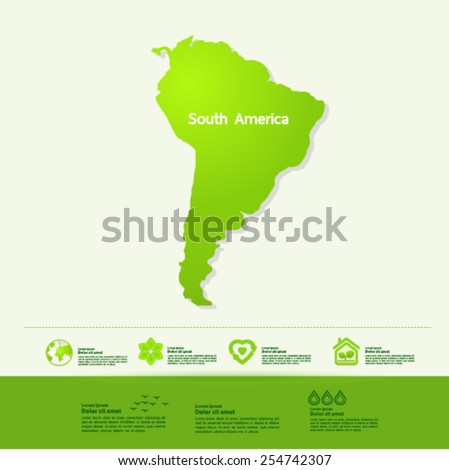 South America ecology World Map vector illustration - stock vector