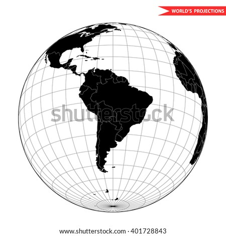 South America globe hemisphere. World view from space icon. - stock vector