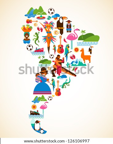 South America love - concept illustration with vector icons - stock vector