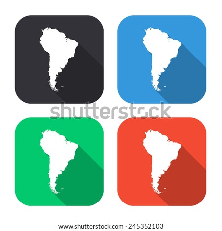 South America map icon - colored illustration (gray, blue, green, red) with long shadow - stock vector