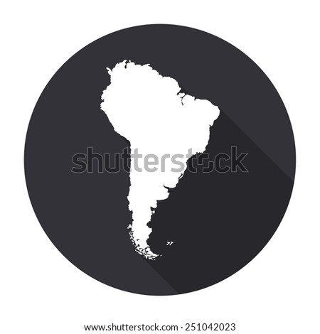 south america map icon with long shadow - vector round button - stock vector