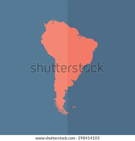 South America map vector icon. Flat design - stock vector