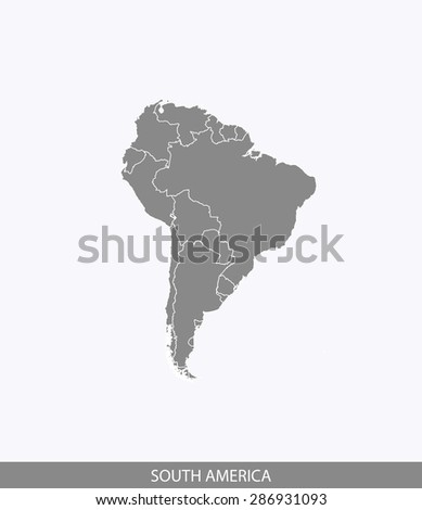 South America map vector, South America map outlines in a contrasted background for brochure design and publication uses - stock vector