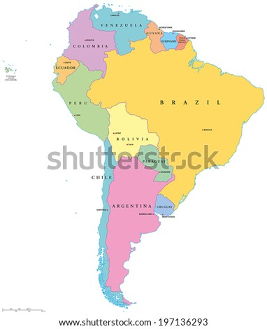 South America Political Map with single states,capitals and national borders. Vector illustration with English labeling and scaling. - stock vector