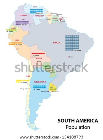 south america population map - stock vector