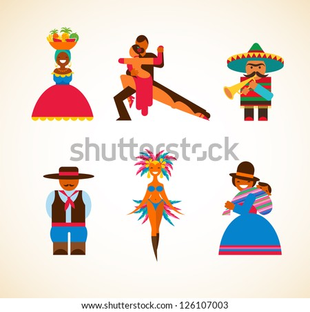 South American people - concept illustration - stock vector