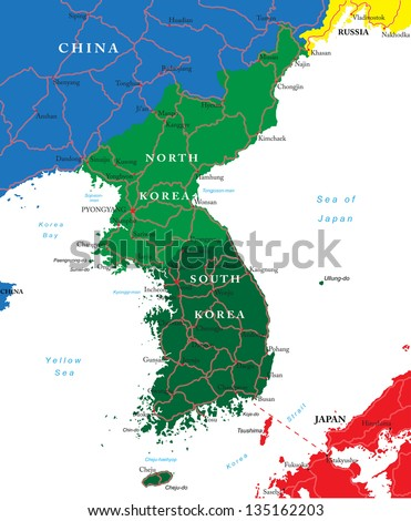 South and North Korea map - stock vector
