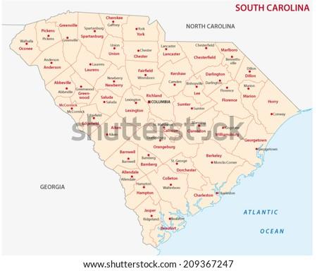 south Carolina administrative map  - stock vector