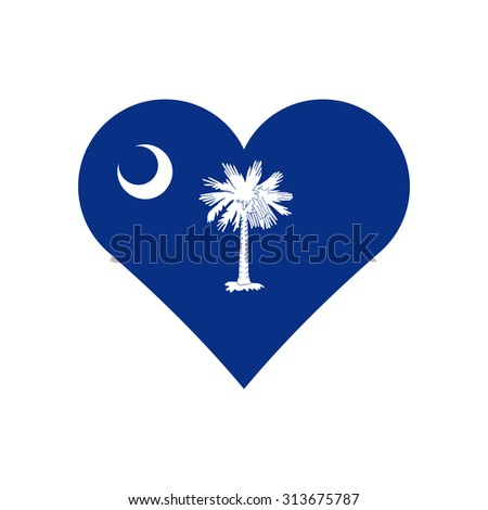 South Carolina flag heart . Love to country and state. Vector illustration EPS8 - stock vector