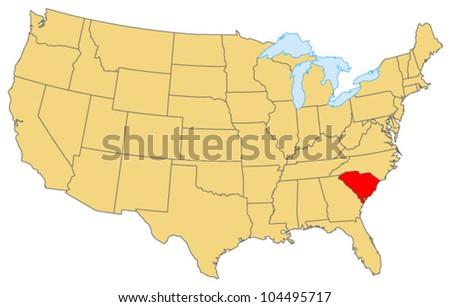 South Carolina Locate Map - stock vector