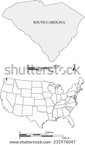 South Carolina map with the scale - stock vector