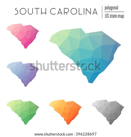 South Carolina state map in geometric polygonal style. Set of South Carolina state maps filled with abstract mosaic, modern design background. Multicolored state map in low poly style. - stock vector