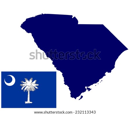 South Carolina vector map and flag isolated on white background. Original and simple South Carolina state flag isolated vector in official colors and proportion correctly. - stock vector
