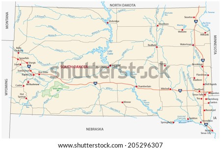 south dakota road map - stock vector