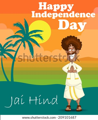 South indian man in welcome gesture in vector with Jai hind (Victory of India) - stock vector