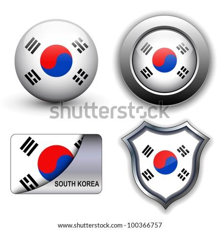 South Korea flag icons theme. - stock vector
