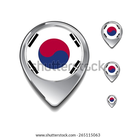 South Korea flag map pointer. 3d Map Pointer with flag glossy button style on gray background - stock vector