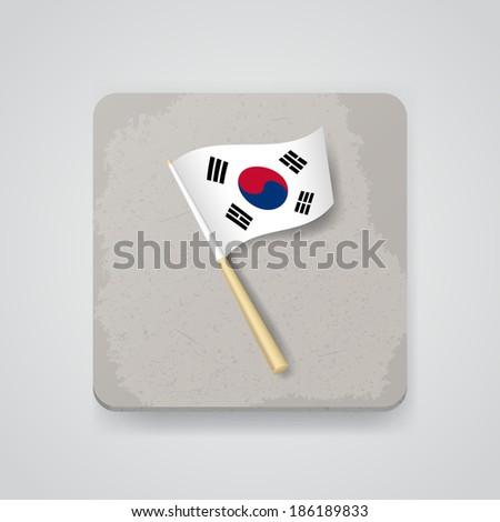 South Korea flag, vector icon - stock vector