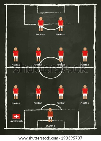 South Korea Football Club line-up on Pitch, vector design. - stock vector