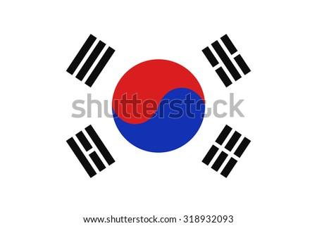 South Korea national flag. Vector EPS8 - stock vector