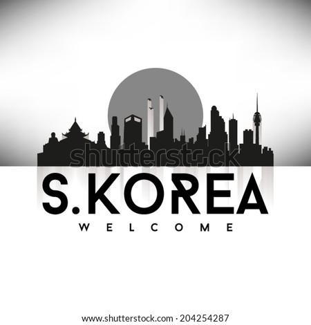 South Korea, Skyline Design, Black vector illustration. - stock vector