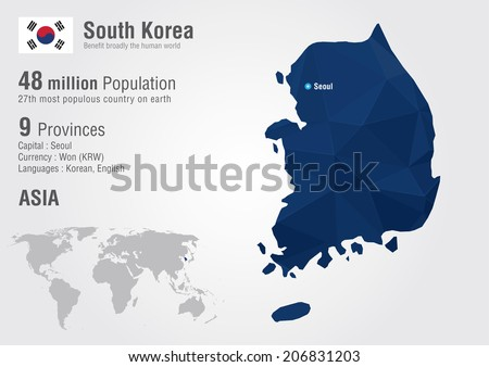 South Korea world map with a pixel diamond texture. World Geography. - stock vector