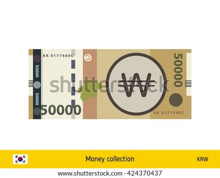 South Korean won. South Korean won banknote - stock vector