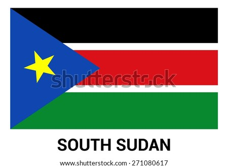 South Sudan flag isolated vector in official colors and Proportion Correctly. country's name label in bottom - stock vector