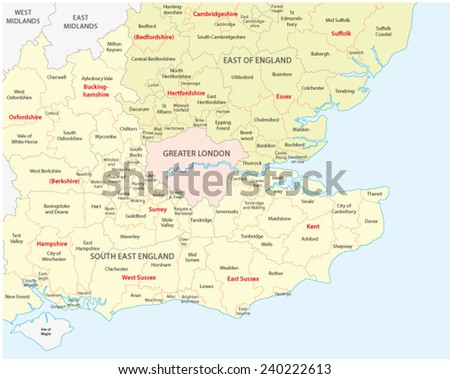 south west england administrative map - stock vector