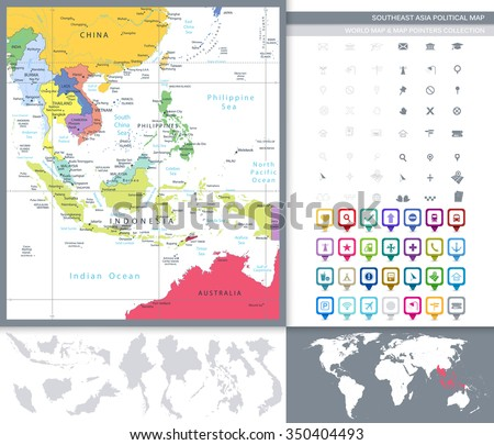 Southeast Asia Detailed Political Map and Square Icons. All elements are separated in editable layers clearly labeled. - stock vector