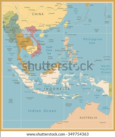 Southeast Asia Map Detailed Vintage Colors.All elements are separated in editable layers clearly labeled. - stock vector