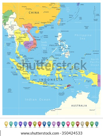 Southeast Asia Political Map and Navigation Icons. All elements are separated in editable layers clearly labeled. - stock vector