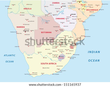 southern africa map - stock vector