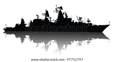 Soviet (russian) guided missile cruiser  silhouette. Vector on separate layers - stock vector