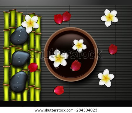 spa background with  stone spa and bamboo - stock vector