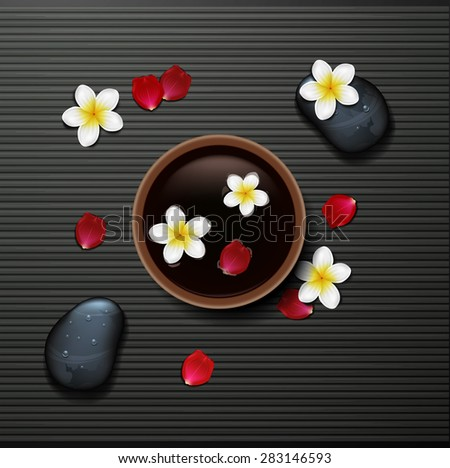 spa background with tropical flowers and stone spa - stock vector