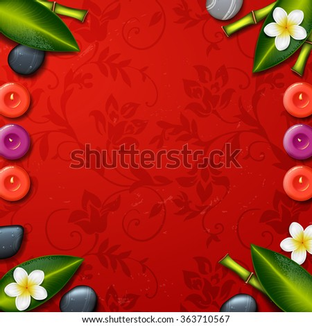 spa background with tropical flowers and stone spa candle. Summer tropical green leaves.red background. spa therapy - stock vector