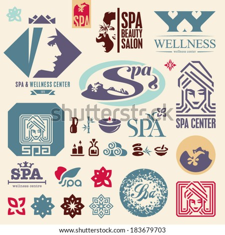 SPA. Beautiful woman. Spa icons collection. - stock vector