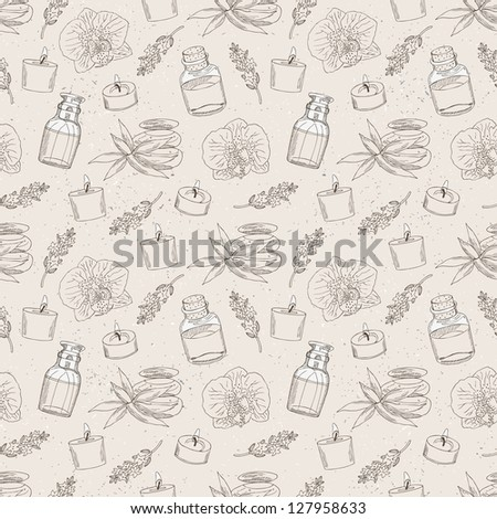 spa hand drawn seamless background - stock vector
