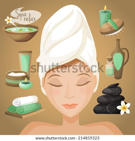 Spa healthcare salon therapy icons with beautiful woman face vector illustration - stock vector