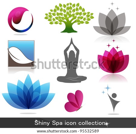 Spa icon collection, beautiful bright colors - stock vector