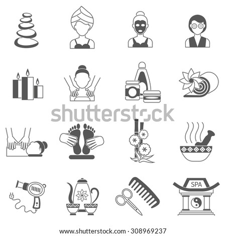 Spa icons black set with body and facial skin treatment isolated vector illustration - stock vector