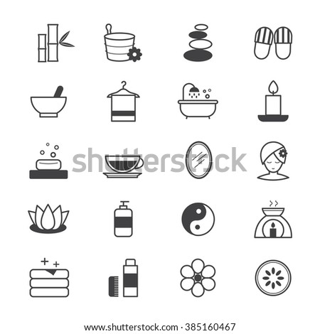 Spa Icons Line - stock vector
